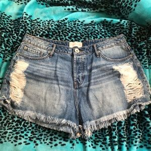 Never worn Distressed denim shorts